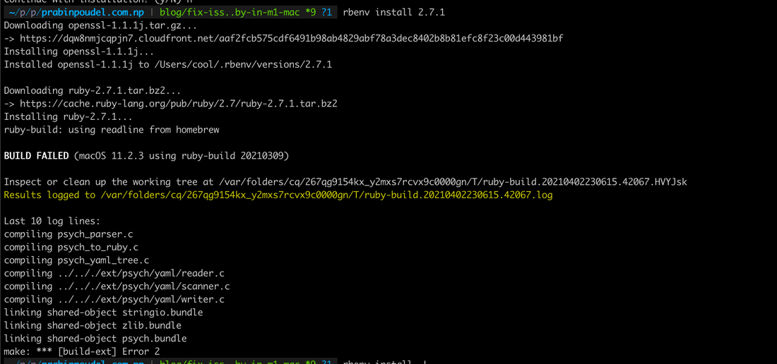 Screenshot of ruby installation error message