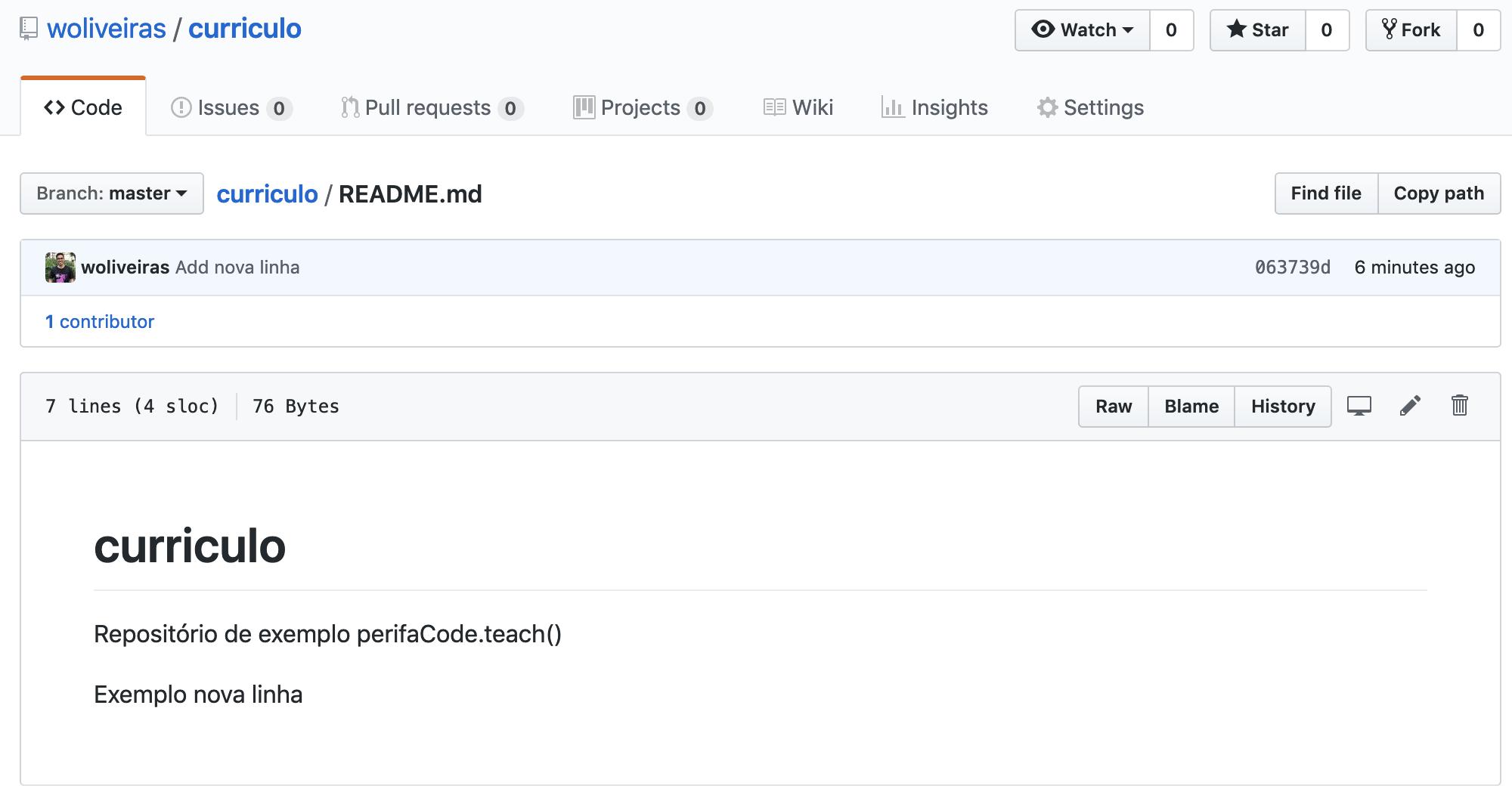 Nova linha aparecendo no GitHub