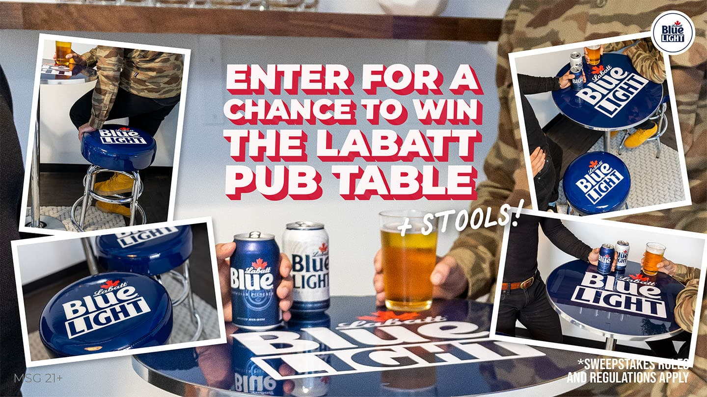 A photo-collage featuring the Labatt Blue Blue Light Tailgating Pack