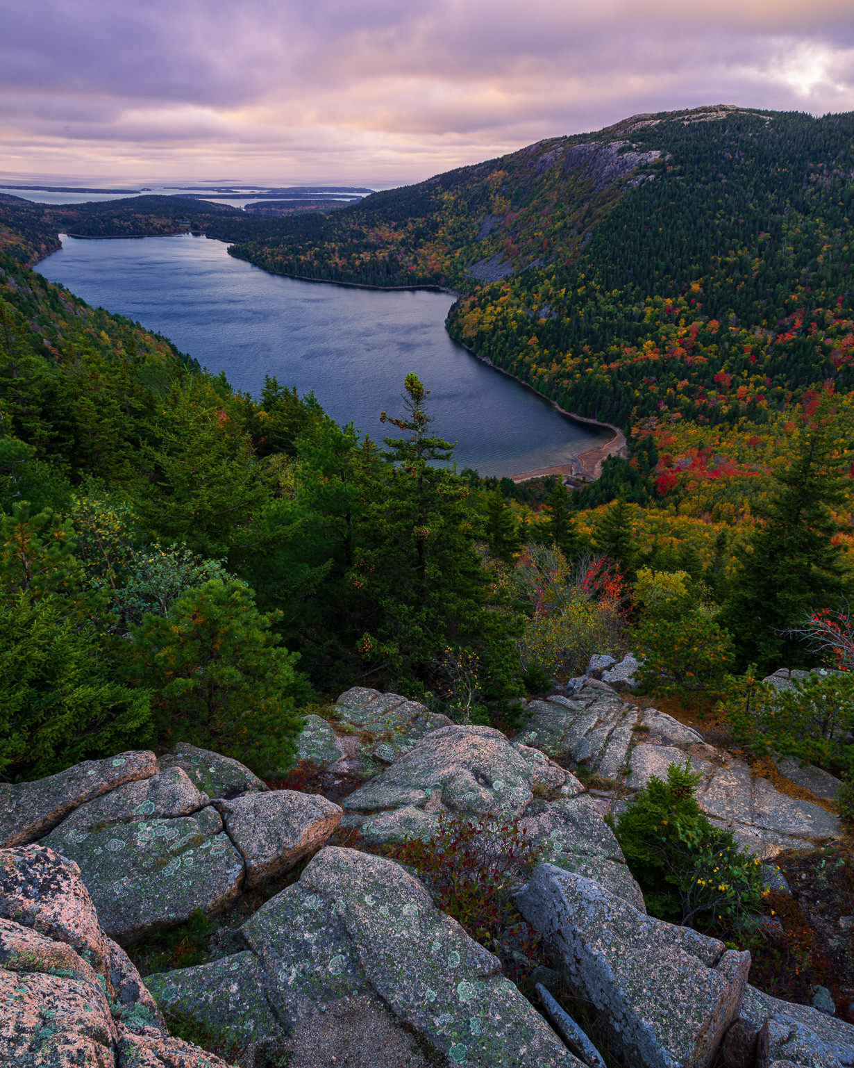 Sunrise over Jordan Pond in Acadia National Park