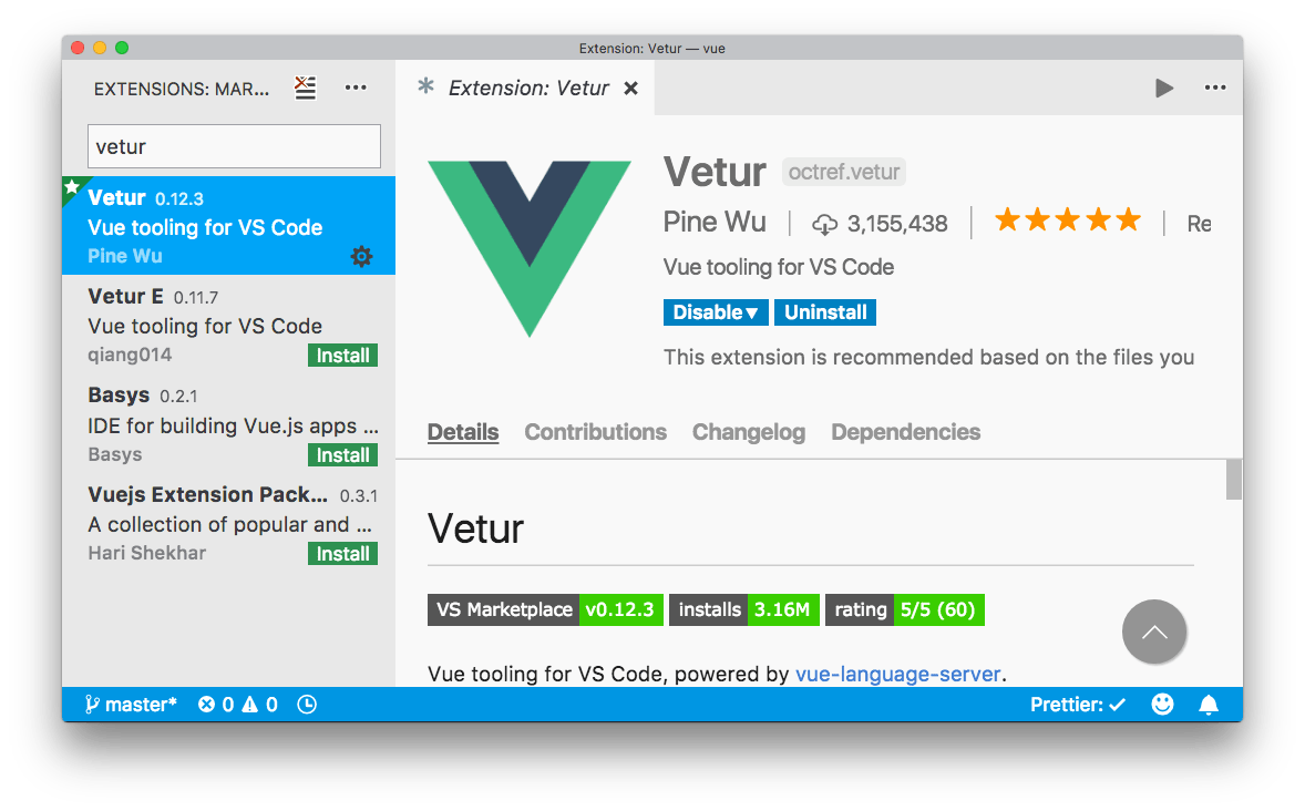 Search vetur in extensions