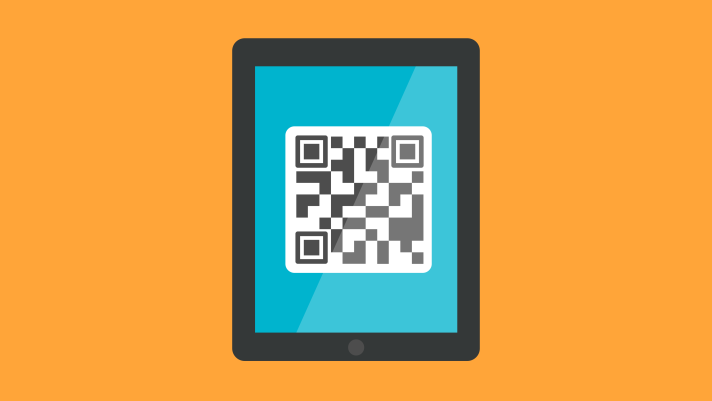 Illustration of an iPad with a QR barcode displayed on the screen