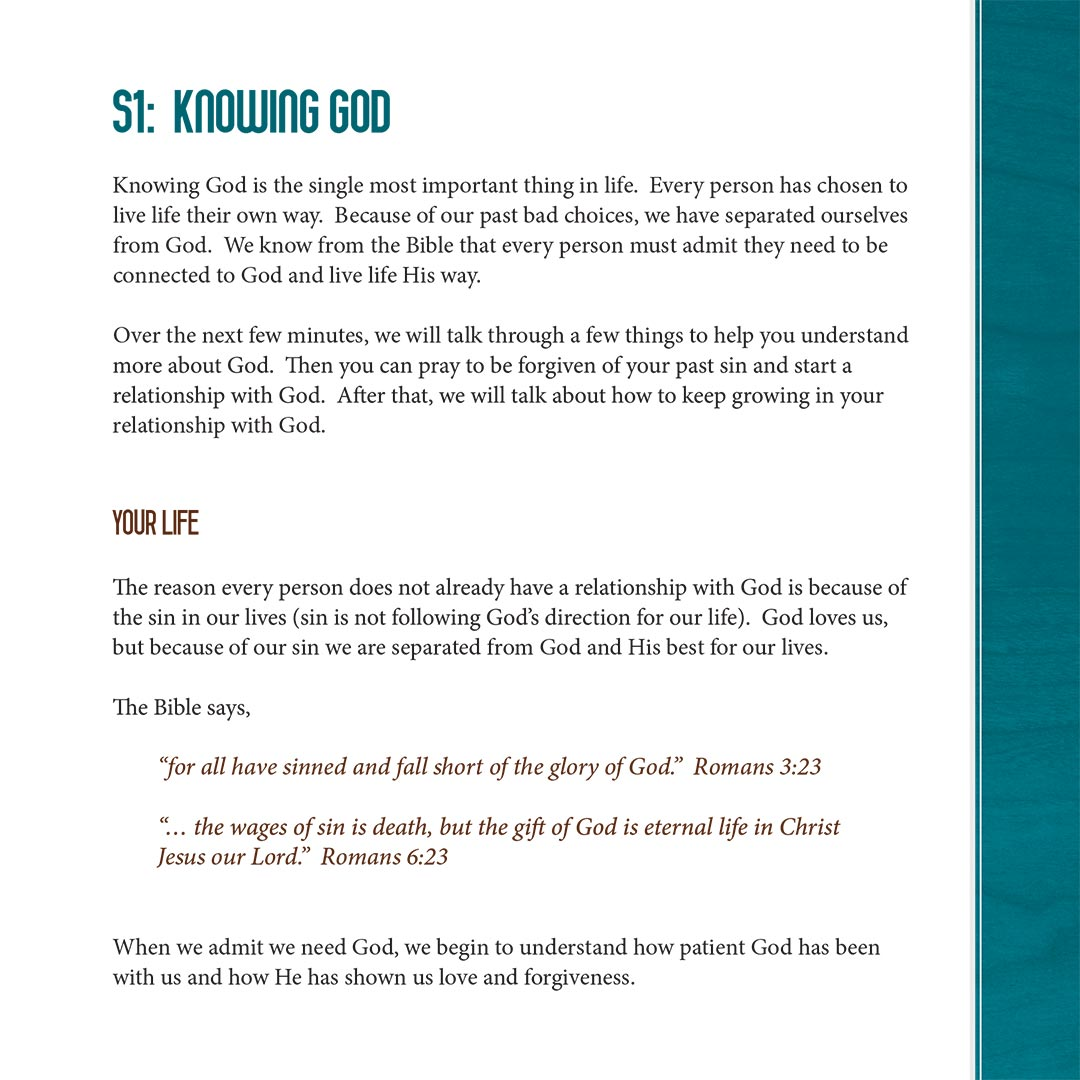 A page from the old Spiritual Commitment Guide