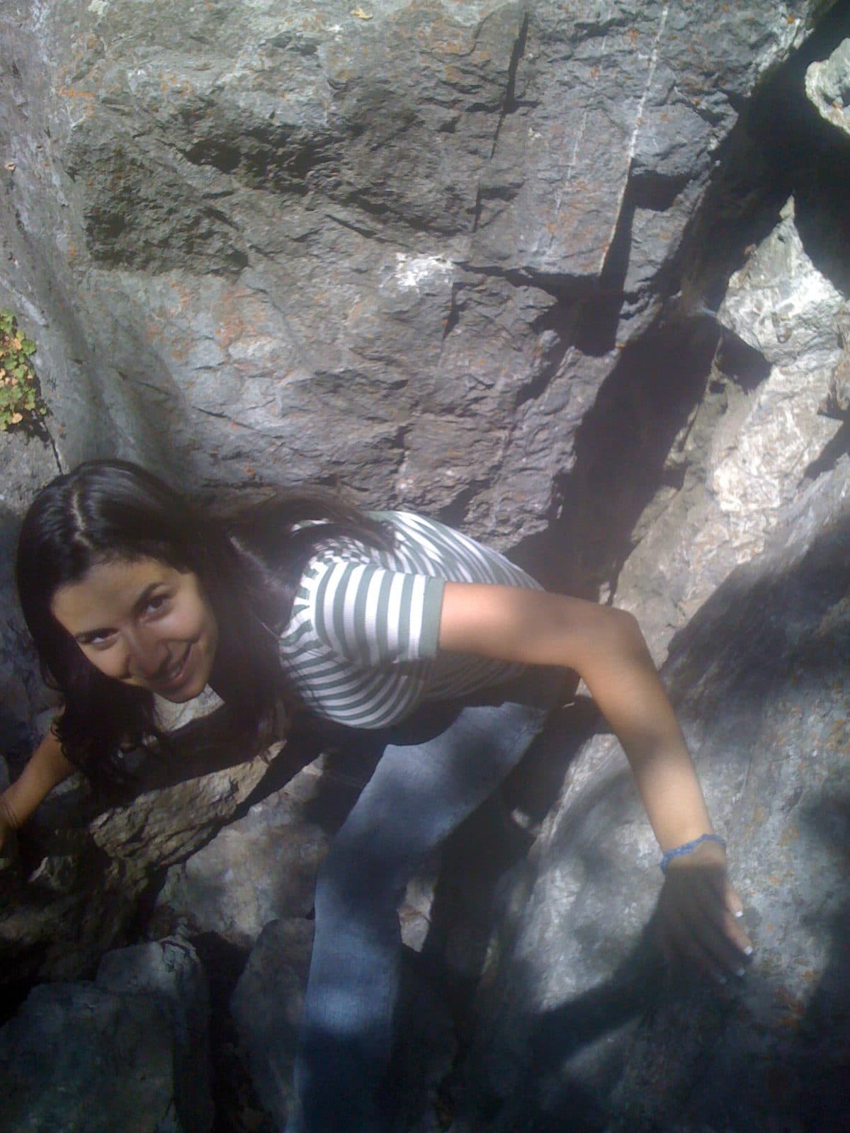mariam coming up from a cave