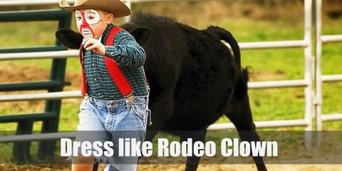 Rodeo clowns wear outlandish clothing and bright colors and add a little Western touch by wearing a cowboy hat, denim pants, or plaid.