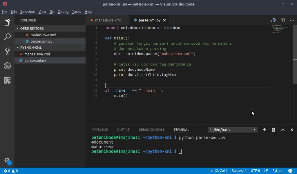 Hasil eksekusi program Python XML