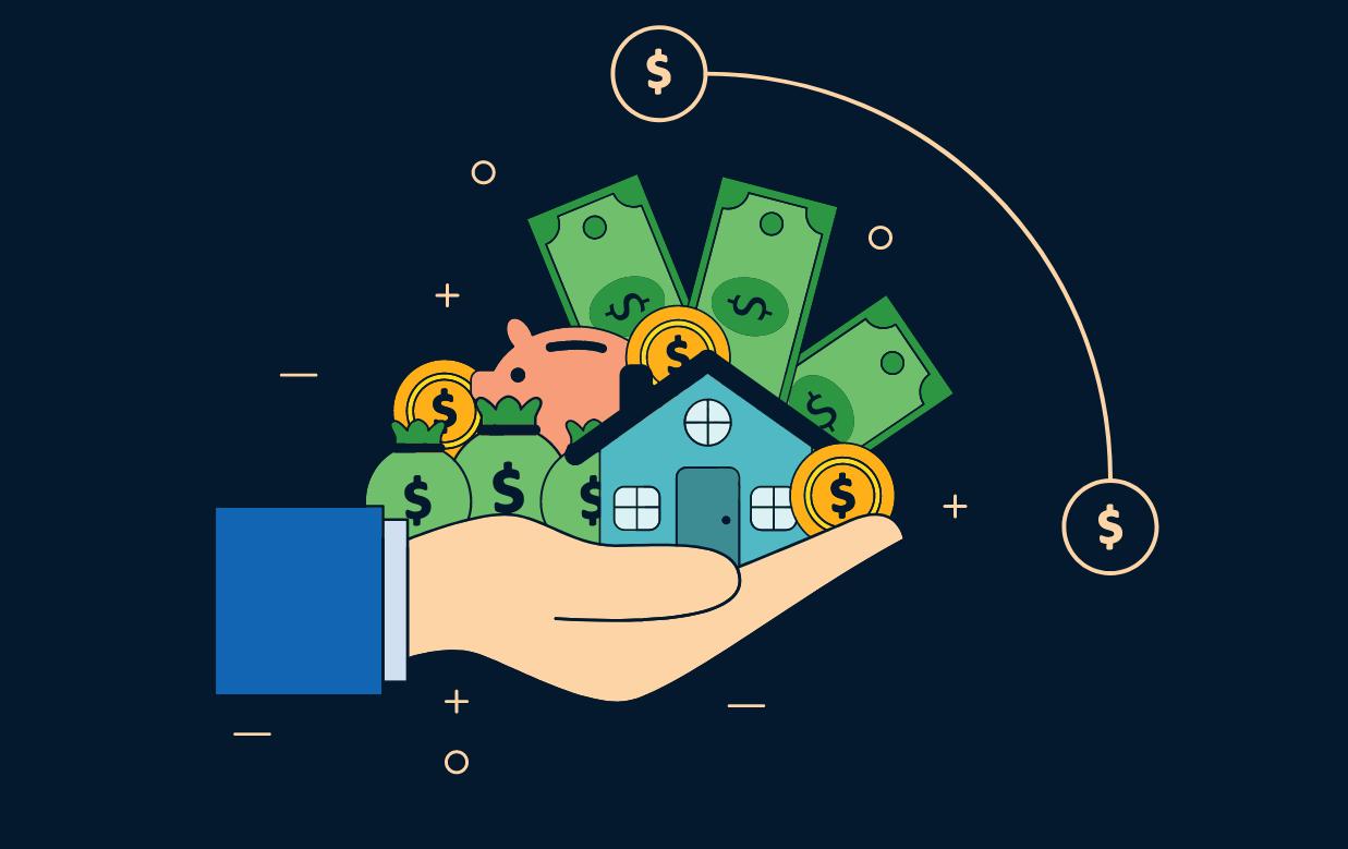 Uma mão com cédulas de dinheiro, um cofre em formato de porquinho, sacos de dinheiro e moedas e uma casa