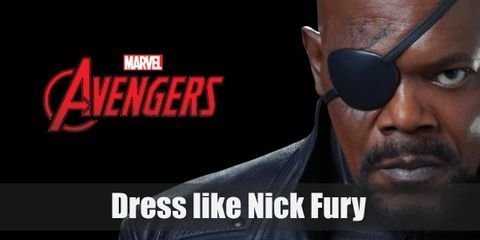 """What you will need for you Nick Fury based costume is first of all a long black leather duster, an iconic black eye patch, and a couple gun holsters as well as a costume pistol."""