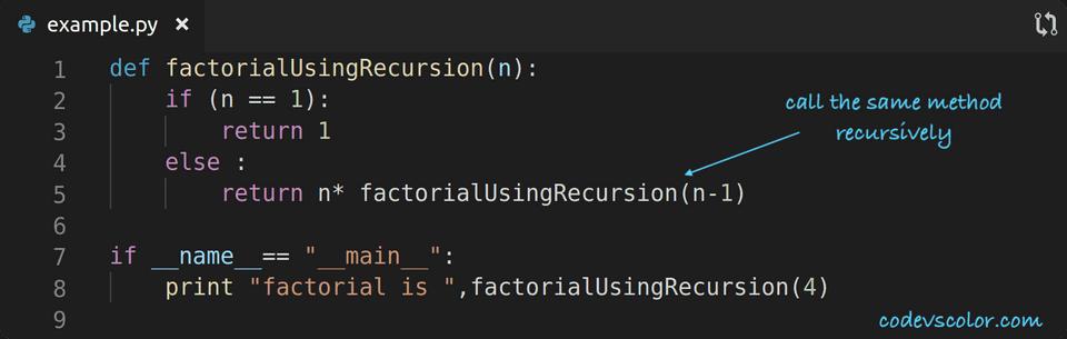 python factorial using recursion