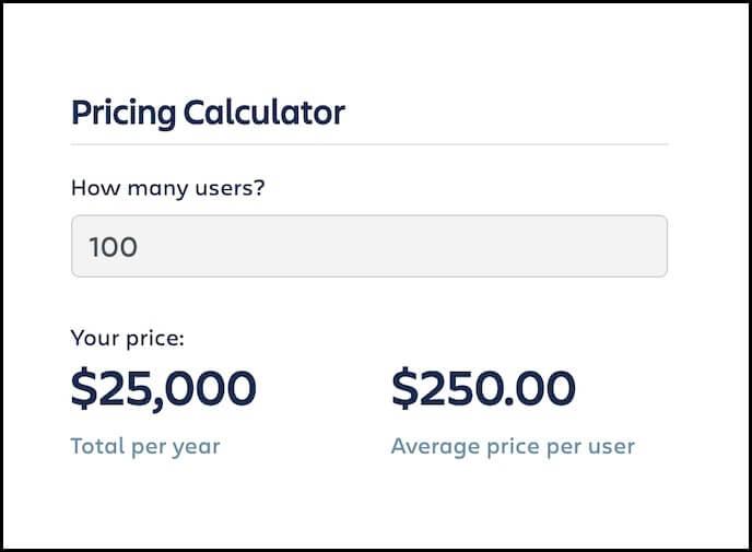 screenshot of enterprise pricing calculator