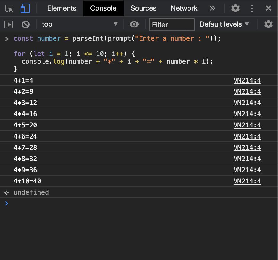 JavaScript multiplication table