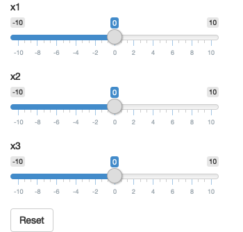 The app on load (left), after dragging some sliders (middle), then clicking reset (right). See live at <https://hadley.shinyapps.io/ms-update-reset>.