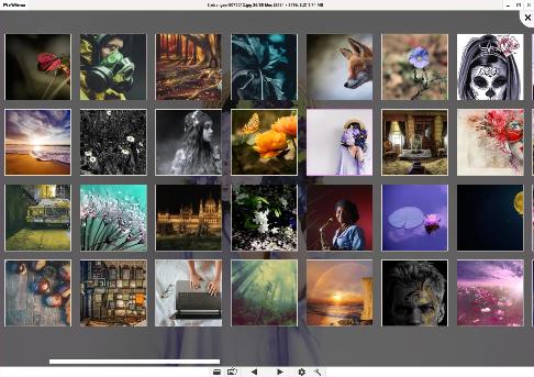PicView horizontal image gallery example using light theme