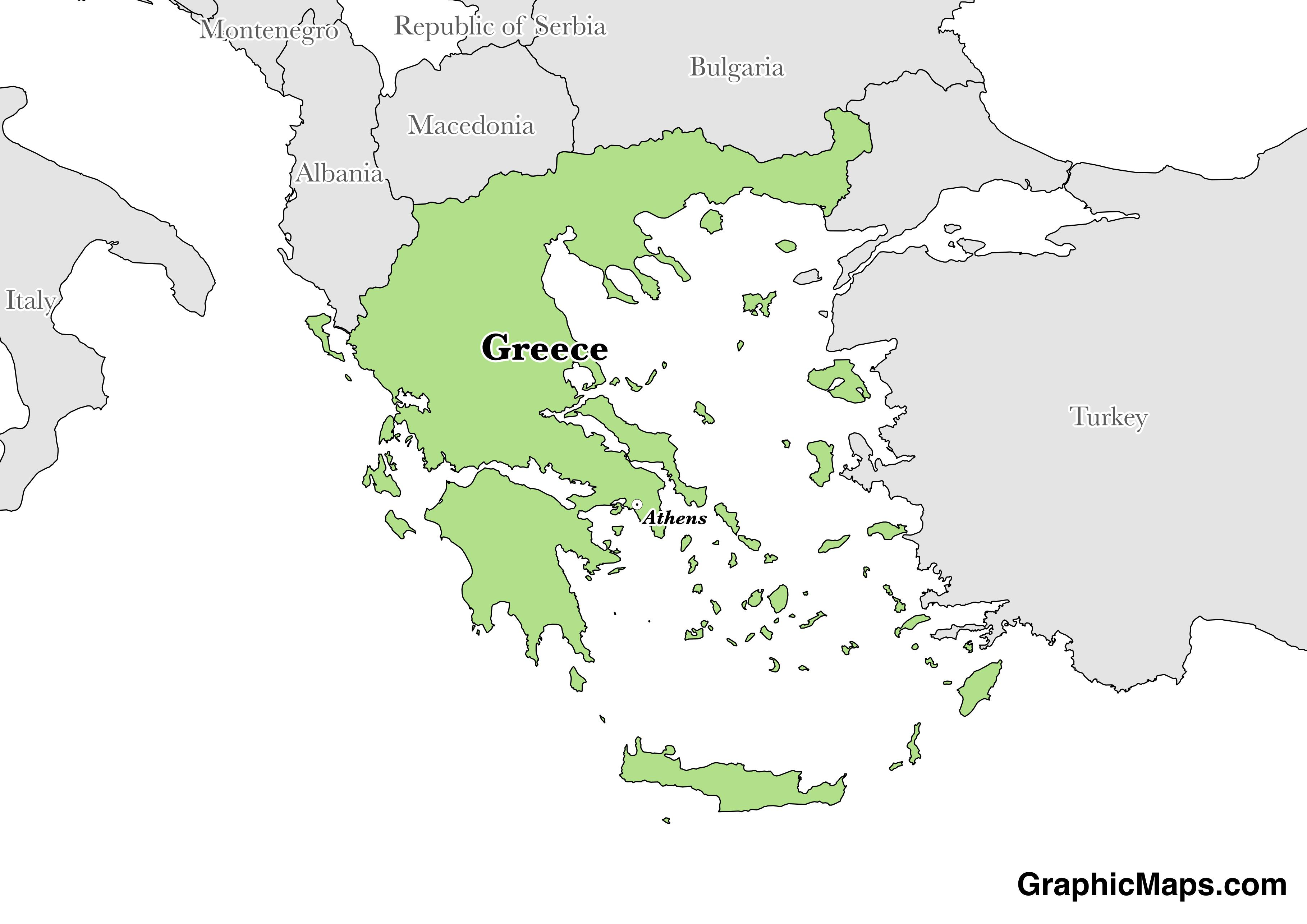 Map showing the location of Greece