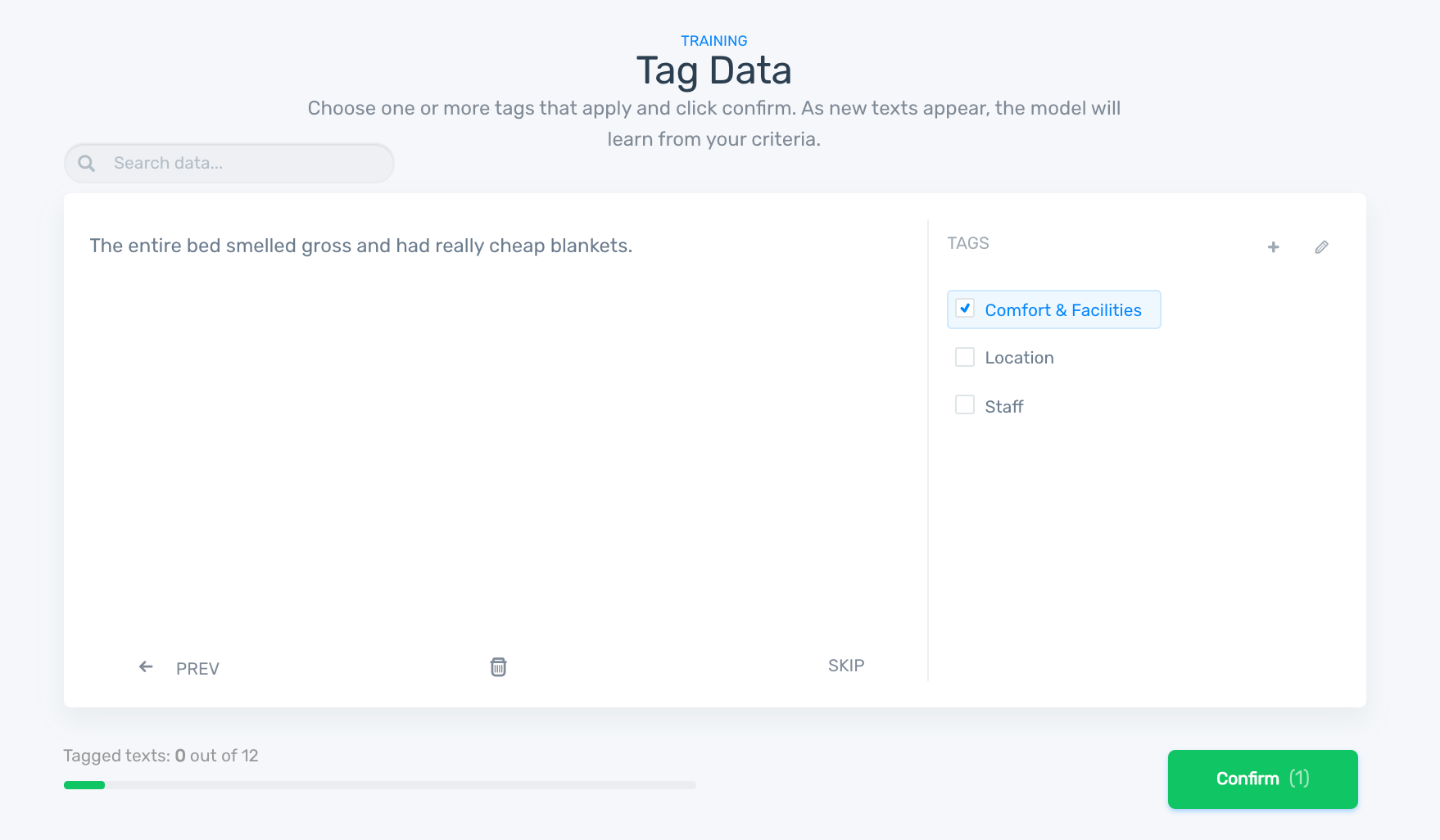 Tag data for training your classifier