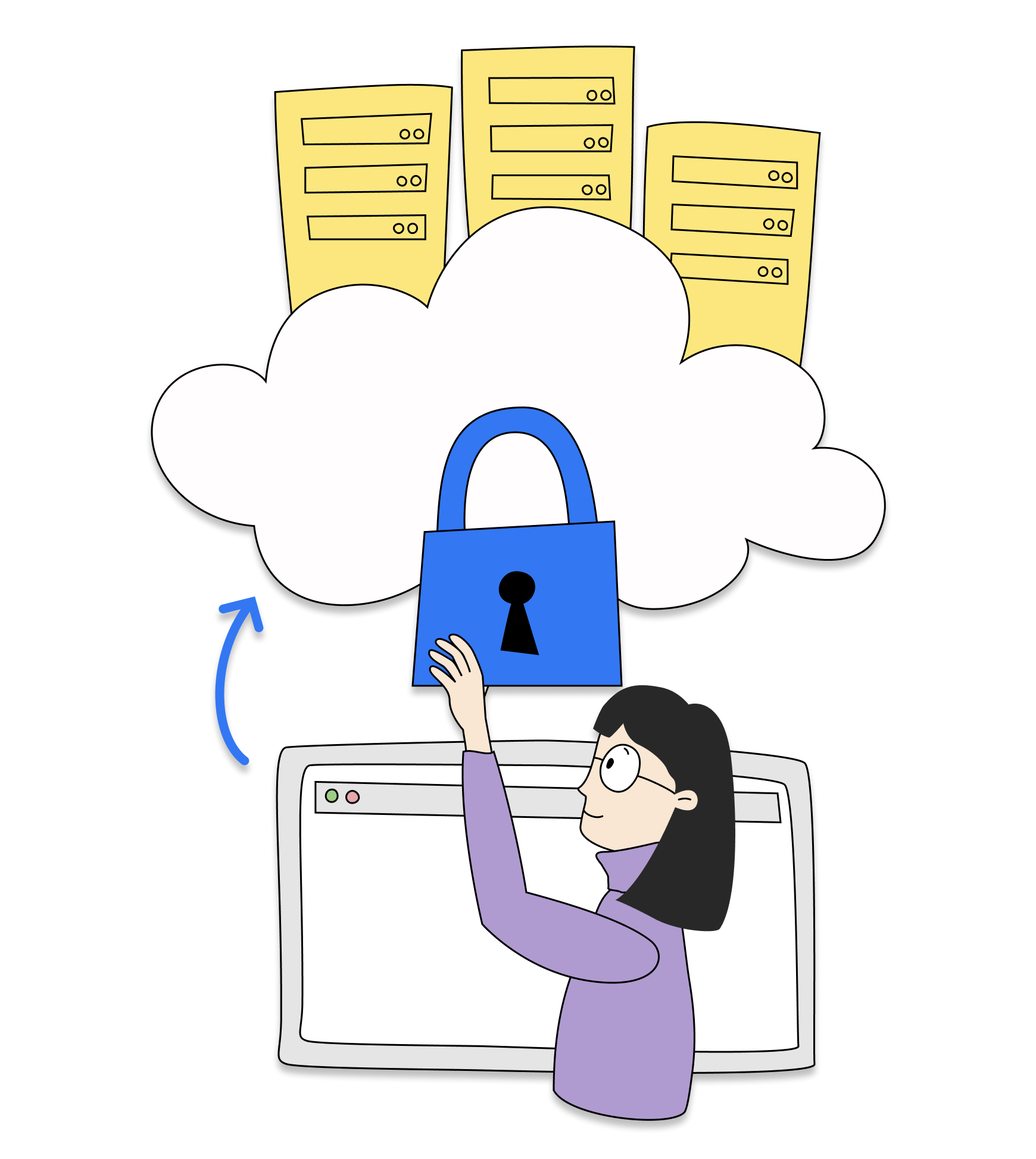 Woman employee accessing cloud resources through a private network