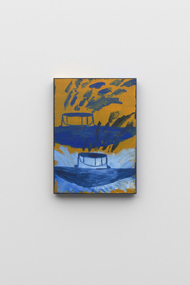 zoom: Virgil's Drum, 2018 oil and spray on canvas 46 × 33                cm