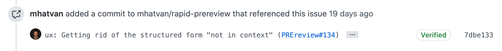 Referenced commit ID in commit