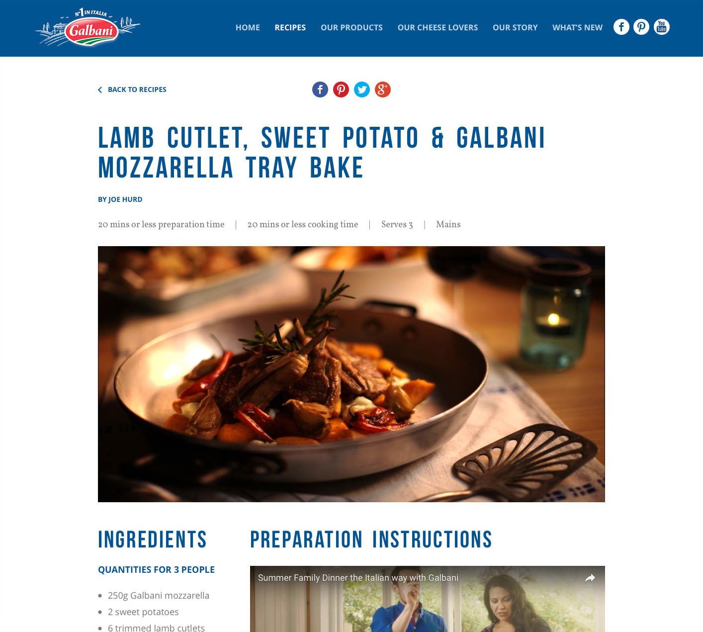 Galbani recipe page, showing almb, sweet potato and mozzarella tray bake, with instructions and ingredients list.