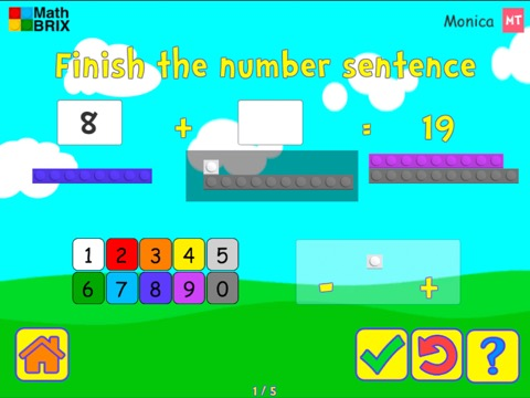 Add and subtract within 20 with brix (unknowns anywhere, typing) Math Game