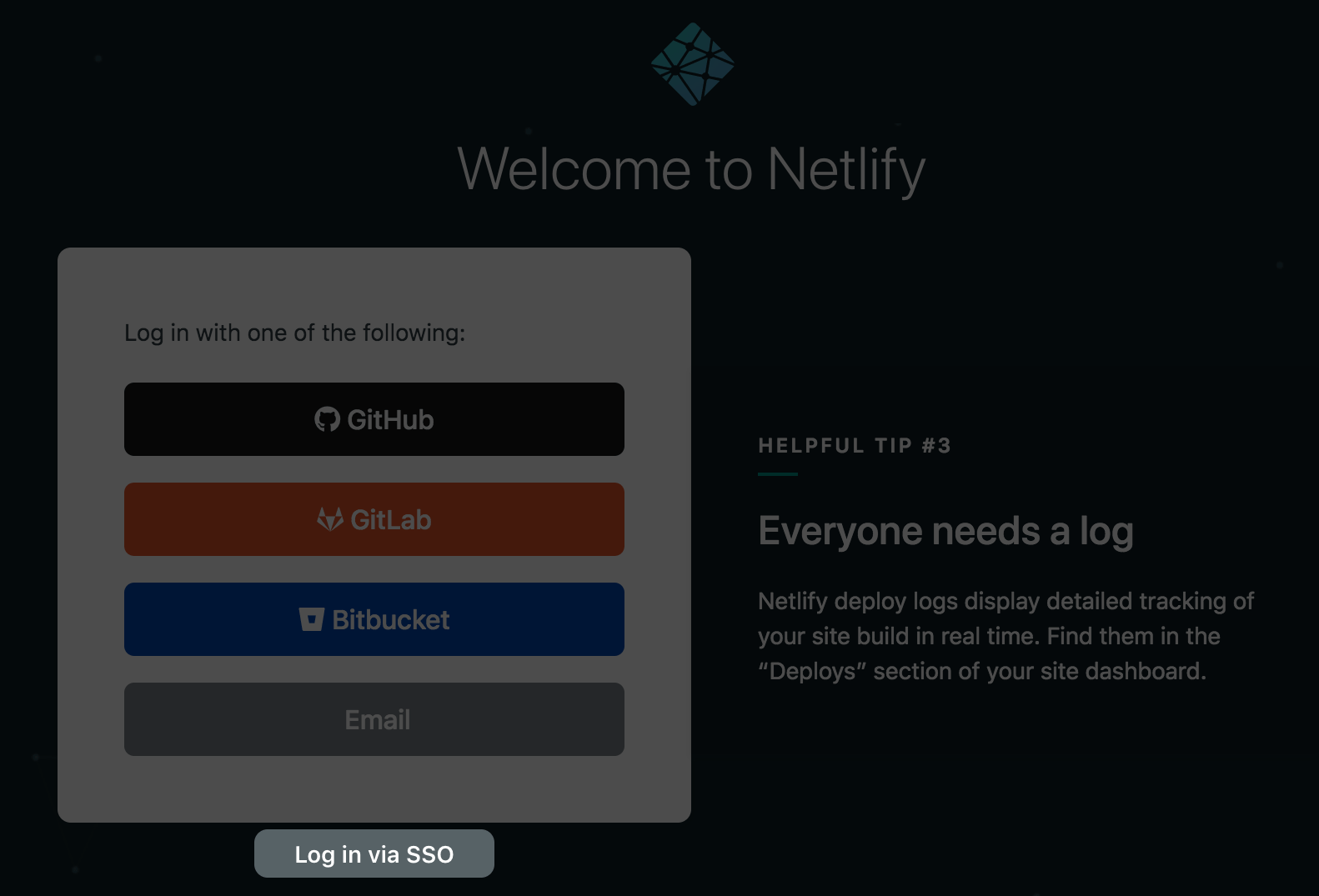 The standard Netlify login interface includes a link to log in via SSO.