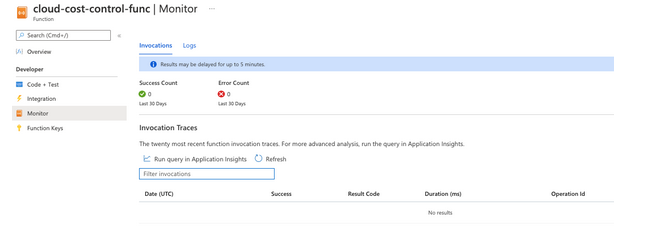 Function monitoring panel in Azure web GUI