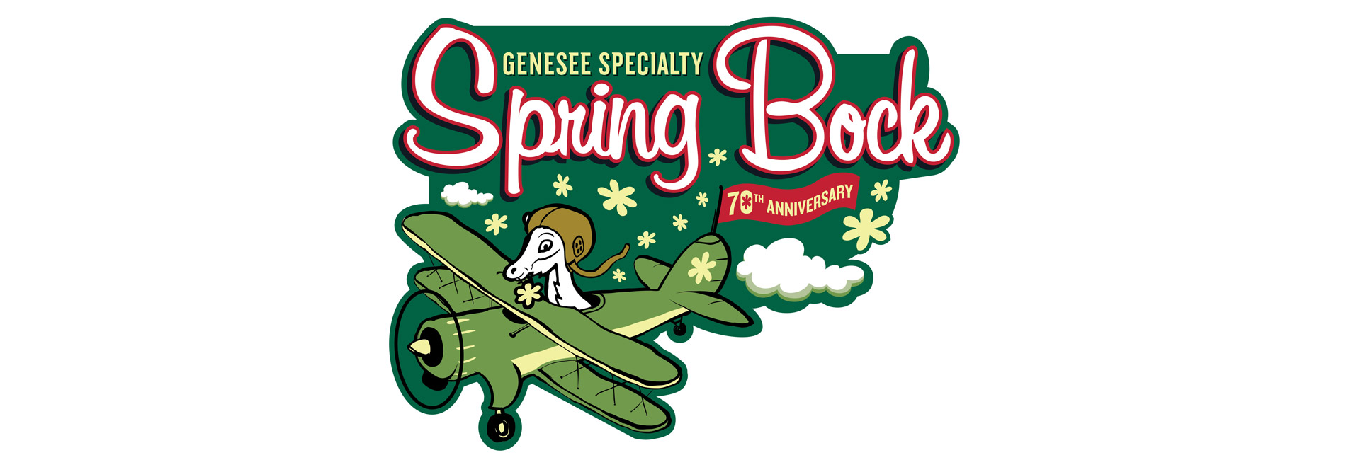 70th Anniversary of Genesee Specialty Spring Bock logo featuring the Spring Bock goat flying an airplane