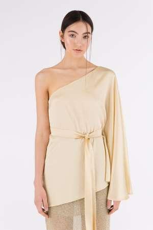 One Shoulder Silk Top, Gold