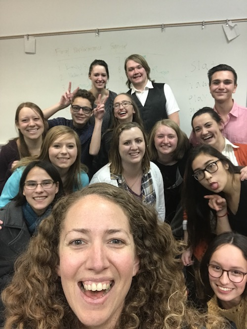 Photo of author and acting class.