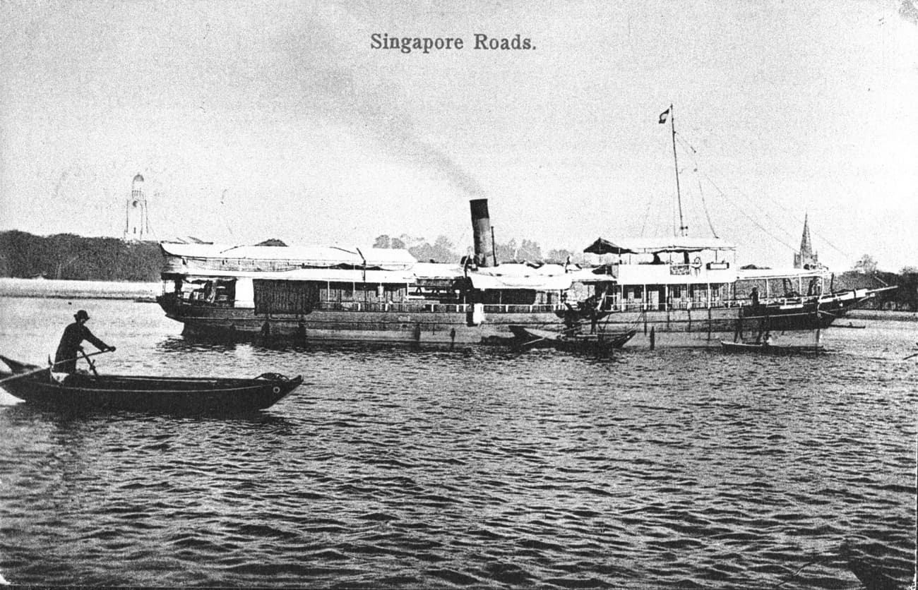 Cargo Ship near the mouth of the Singapore River, 1900s
