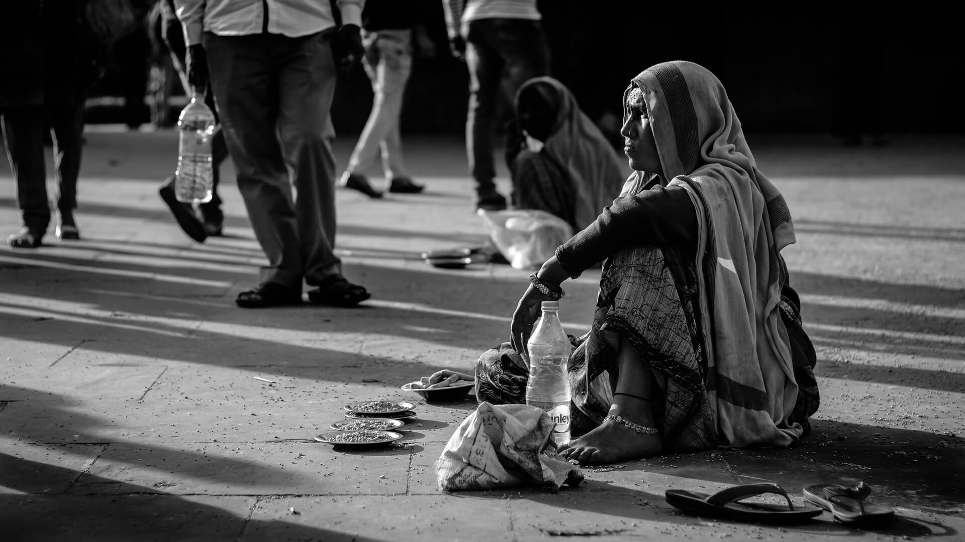 Lady Beggar Begging at the Street