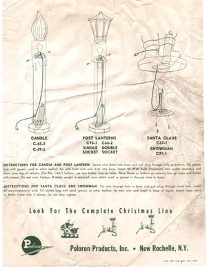Poloron Products Candle #C-65-2, C-39-2, Post Lantern #C96-2, C66-2, Santa Claus #C67-1, Snowman #C91-1 Instruction Manual preview