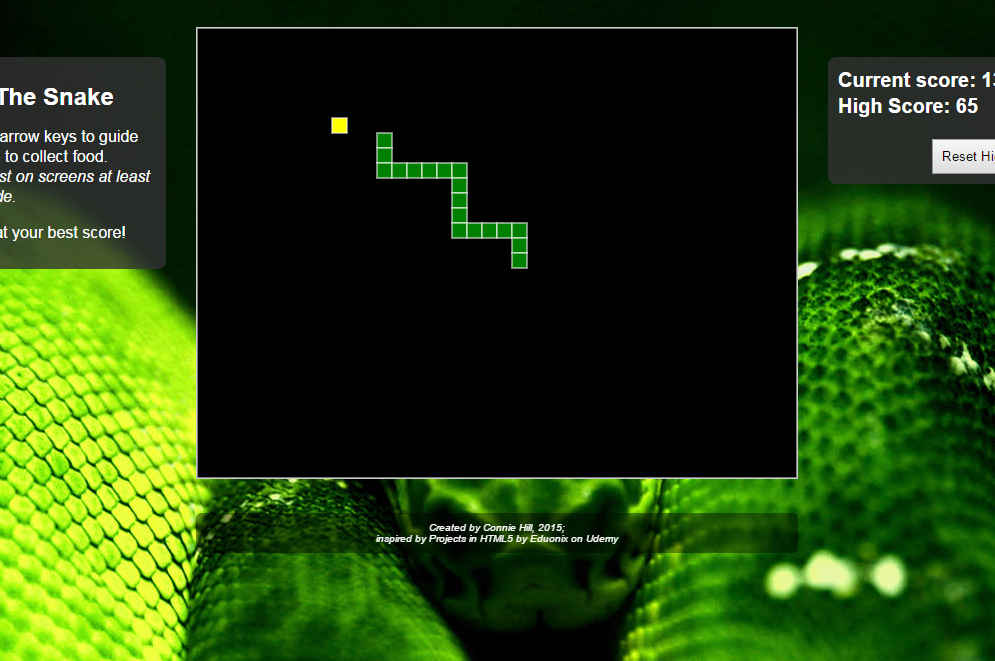 cropped screenshot of Feed the Snake game