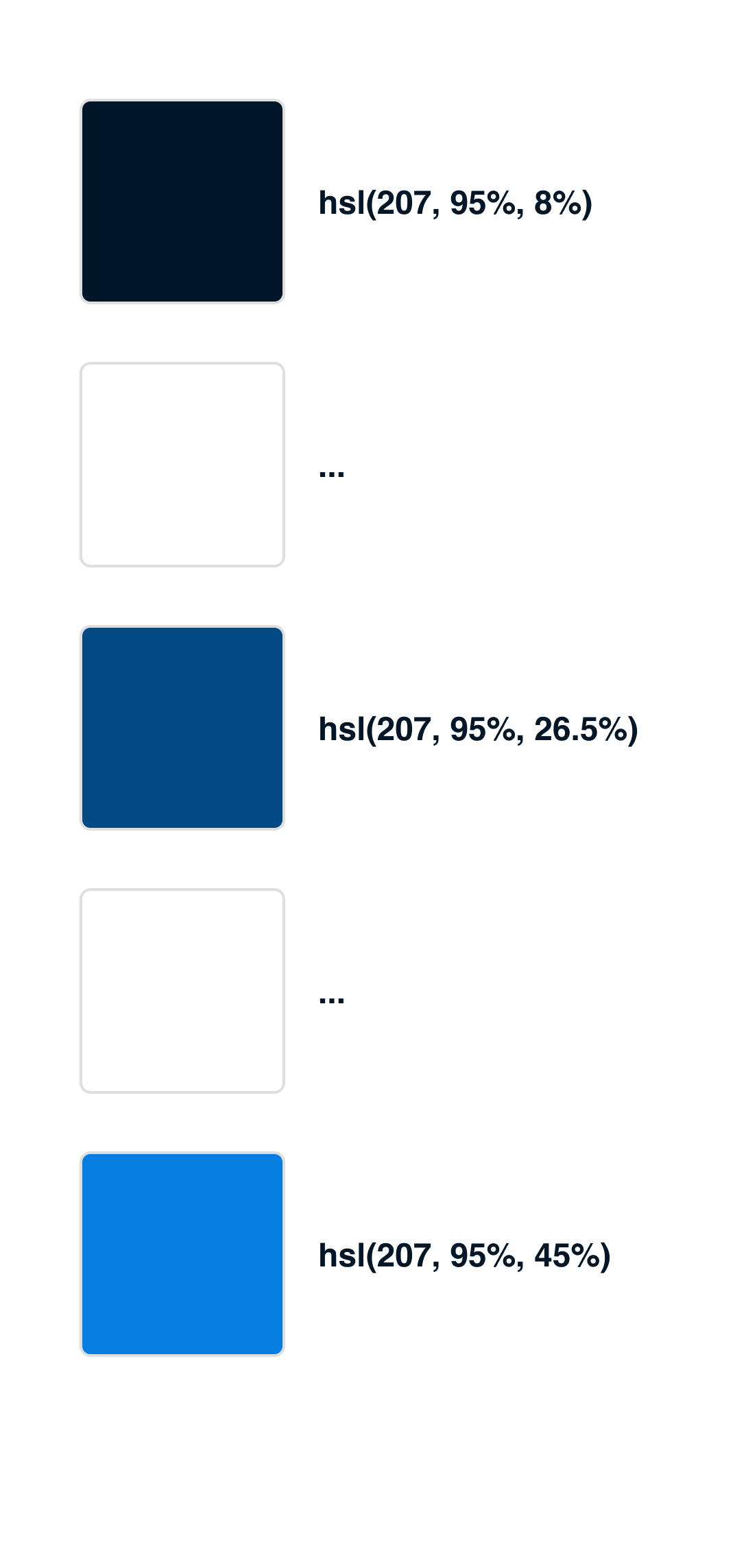 Color palette where the first, last and middle color are filled, second and fourth are not filled