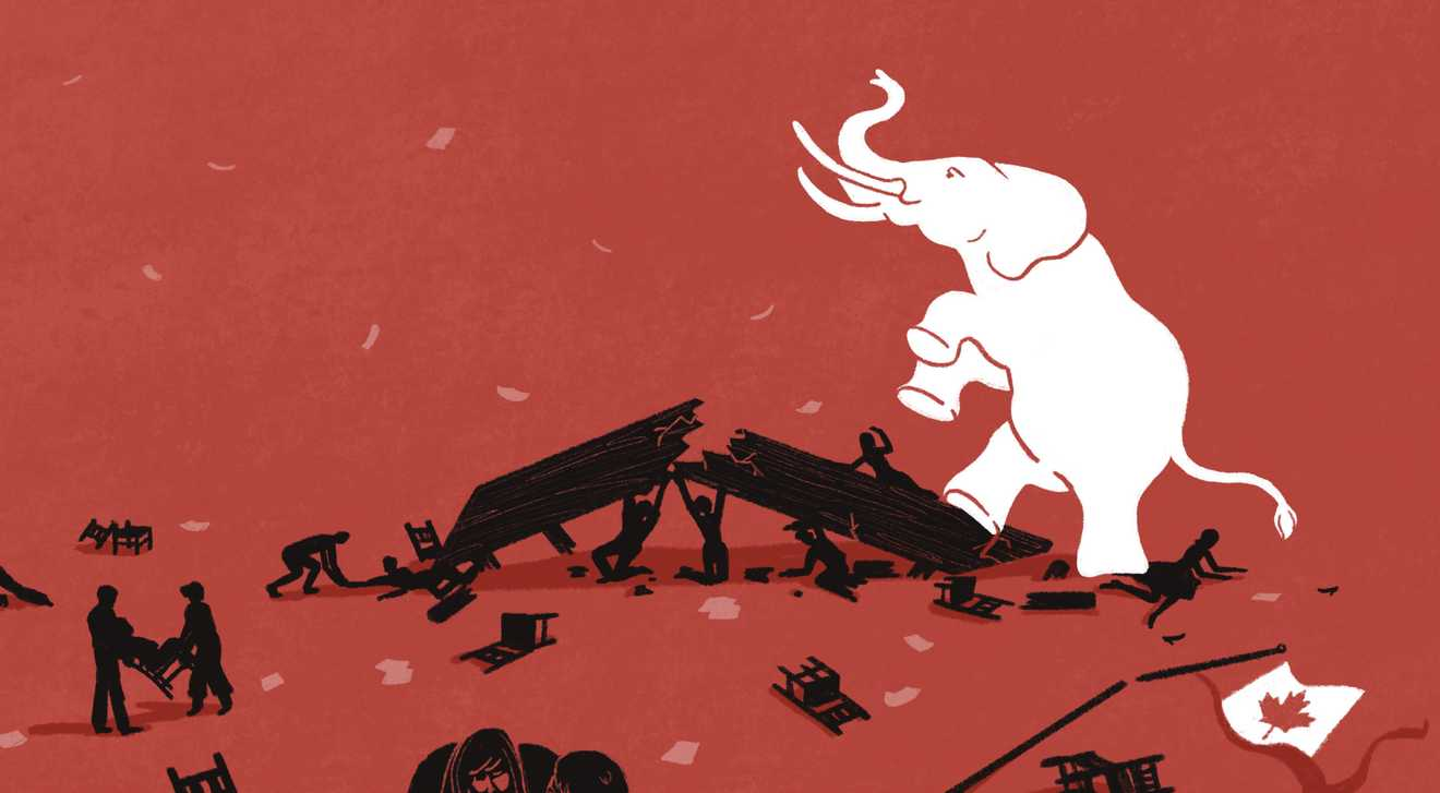 An illustration of a white elephant crushing a house with people under it, while a Canadian flag sits broken on the ground. This symbolizes how white supremacy and racism is damaging people.