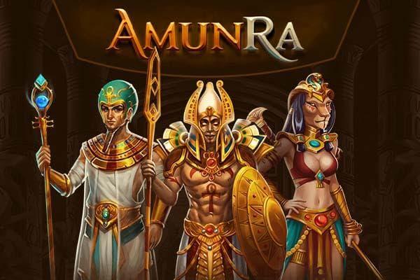 AmunRa Online Casino Promo Banner mit den Vip Figuren des Casinos