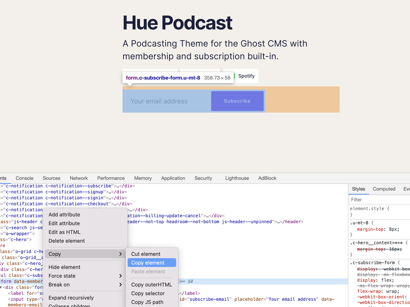 Subscribe Form Embed Source Code