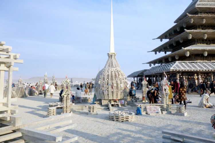 Burning Man Outside the Temple