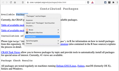 Screenshot displays web page 'Contributed Packages' of the R-project with opened context menue to select the code inspector.