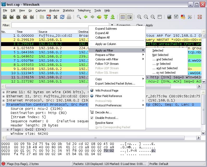 Travailler avec des captures Wireshark - Analyse et capture