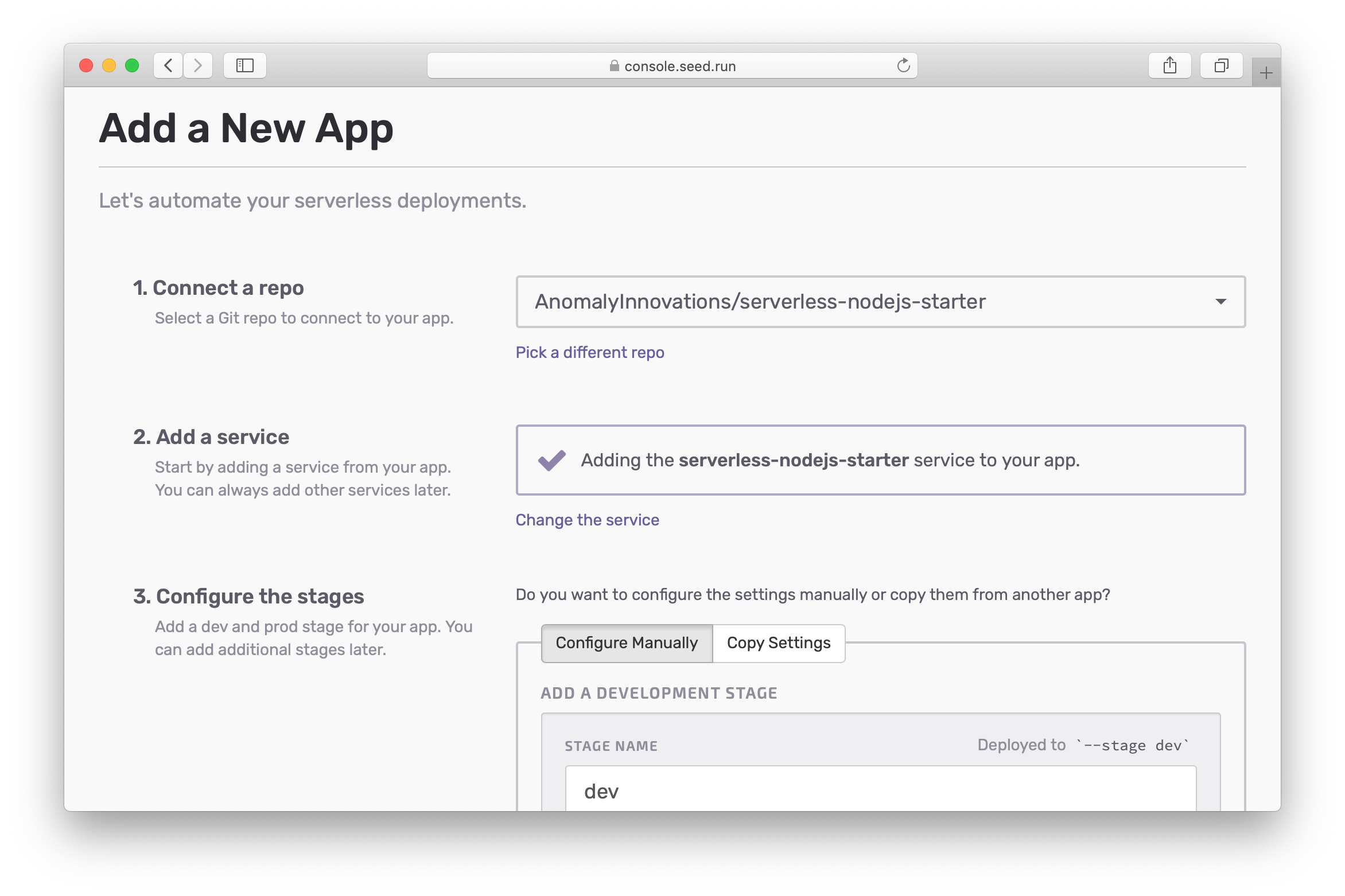 Confirm default service for new app