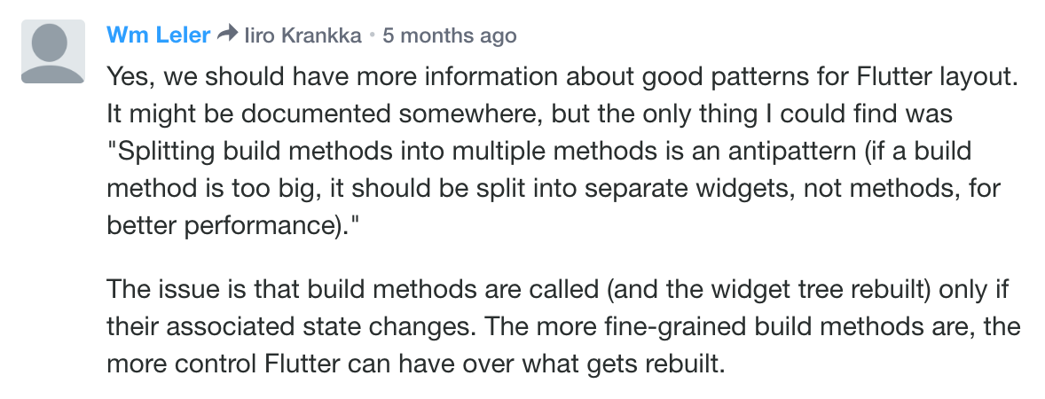 Wm Leler's comment explaining how splitting widgets to functions is a performance antipattern.