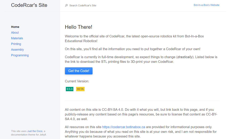 A screenshot of CodeRcar's website