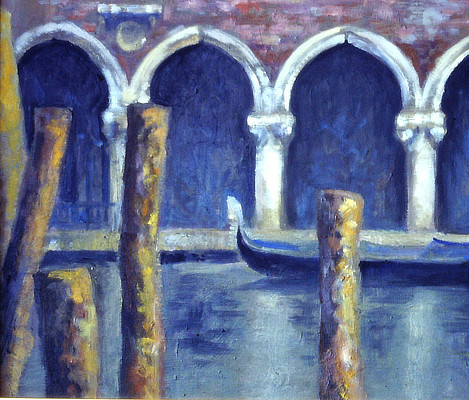 painting of a gondolas in Venice