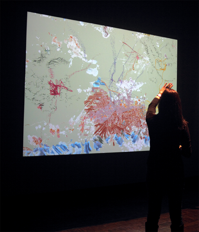 Camille Utterback (b. 1970), installation view of Untitled 5, 2004, interactive installation