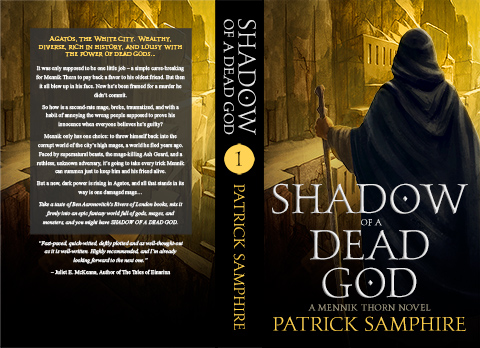 Print cover for Shadow of a Dead God, by Patrick Samphire.'