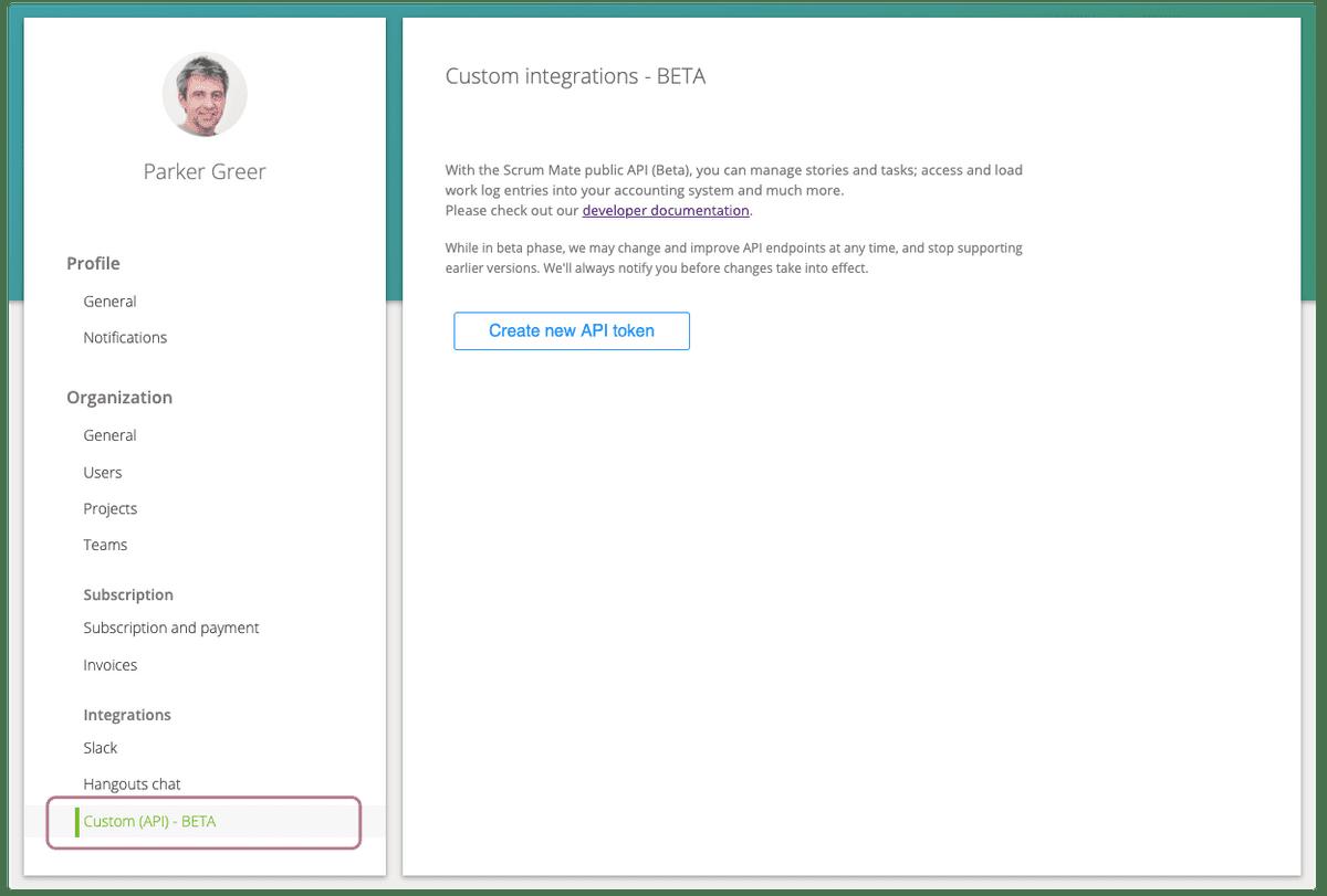 API Settings page