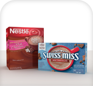 Nestle hot chocolate and swiss miss hot chocolate products