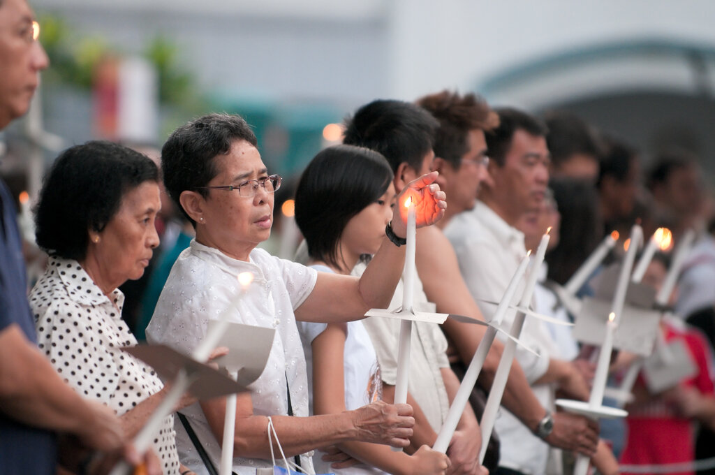 A candlelight procession commemorating Good Friday