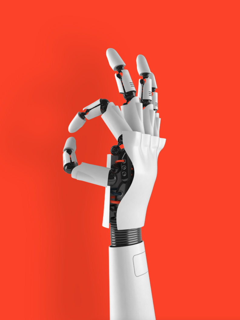 Robotic hand on red background